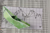 Boat made from dollars and exchange chart — Stock Photo
