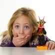 Little kid with a krampus — Stock Photo