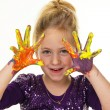 Child with finger paints colors — Stock Photo #8360523