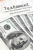 美元纸币和英语的遗嘱 — 图库照片