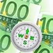 Euro bank notes and a compass — Stock Photo #8494922