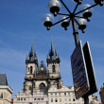 Prague, old town square, tyn church — Stock Photo