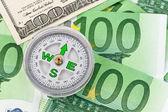Euro and dollar bills. — Stock Photo