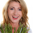 Woman with green asparagus — Stock Photo #8626364