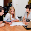 Stock Photo: Consulting and contract signature in apartment