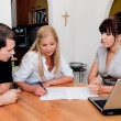 Consulting and contract signature in apartment — Stock Photo