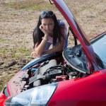 Woman has in her car breaks down — Stock Photo #8626513