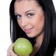 Womwith apple, fruit and vitamins in diet — Zdjęcie stockowe #8626547