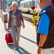 Mature senior couple at the train station — Stock Photo #8626698