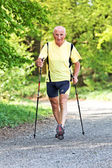 Senior training for fitness walking nordic — Stock Photo
