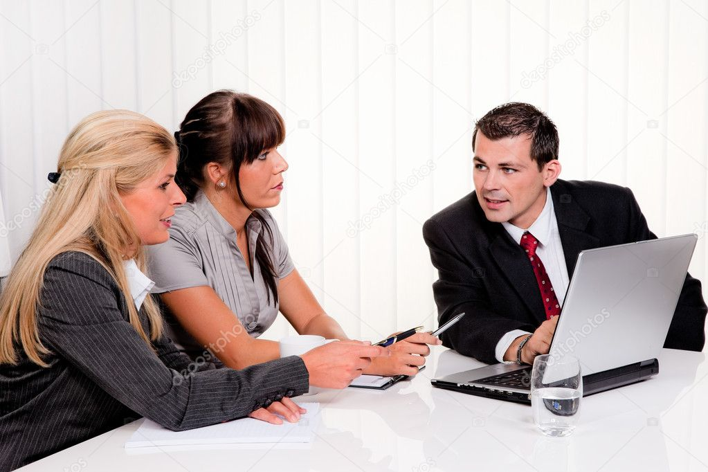 Successful young team at a meeting in the office — Stock Photo #8626417