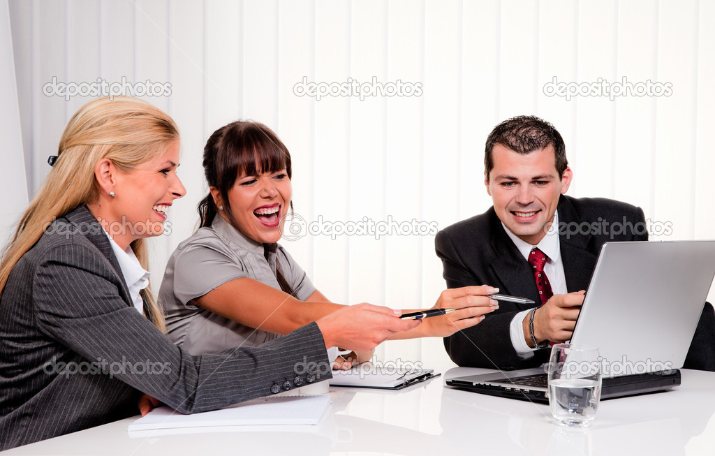 Successful young team at a meeting in the office — Stock Photo #8626420