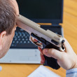Abnschiedsbrief and gun — Stock Photo