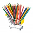 Crayons in shopping cart — Stock Photo