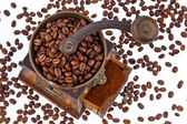 Of coffee. coffee beans and coffee grinder — Stock Photo