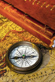 Old diary and compass — Stock Photo