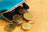 Purse with coins. debt and poverty — Stock Photo