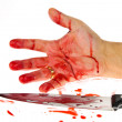 Stock Photo: Knife with blood. crime.