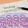 Euro banknotes and contract — Stock Photo
