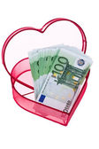 Euro bank notes with heart — Stock Photo