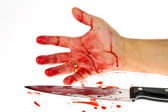 Knife with blood. crime. — Stock Photo
