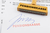 Wooden stamp on the document: pension fund — Stock Photo