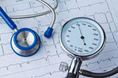 Blood pressure measurement and ecg curve. — Stock Photo
