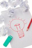 Incidentie en ideeën met gloeilamp. symbool op een z — Stockfoto