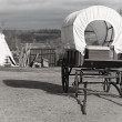 Stock Photo: Wagon and wigwam, black and white picture