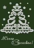 Lace Christmas tree cards — Stock Vector