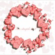 Stock Vector: Hearts round frame