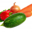 Stock Photo: Fresh vegetables isolated on white background.