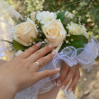 Stock Photo: Bouquet of flowers in his hands bride.