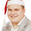 Stock Photo: Young man in hat Santa Claus.
