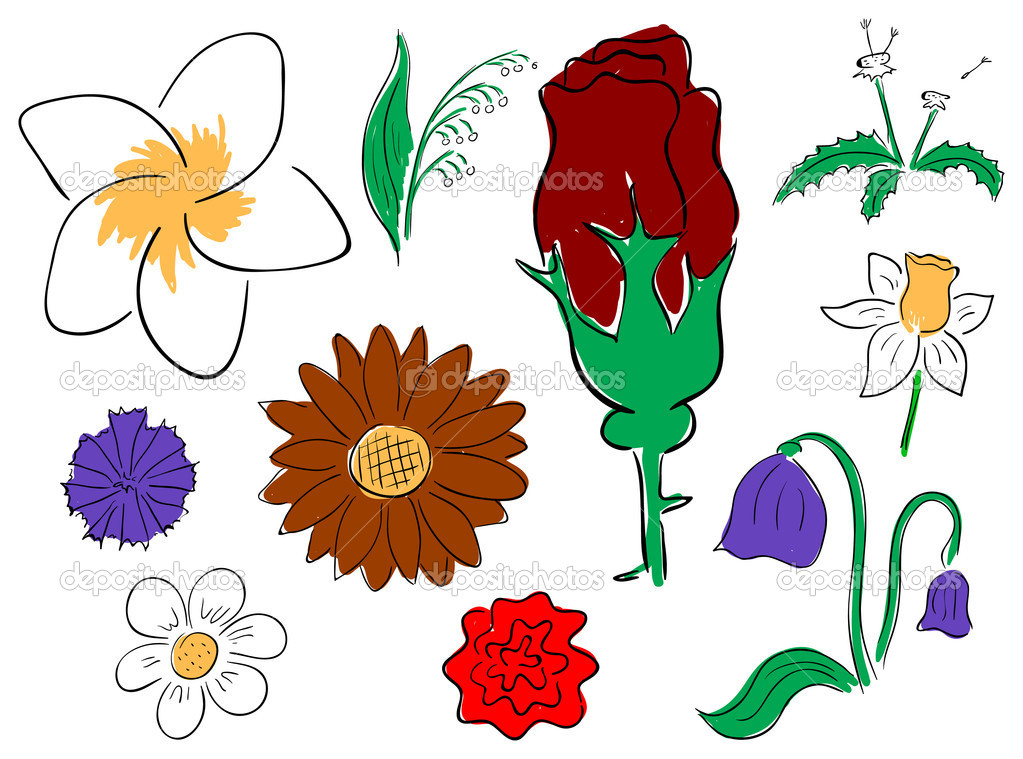 Vector primitive flowers collection on the white background — Stock Vector #10457797