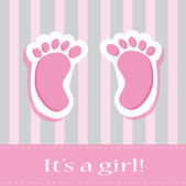 It's A Girl Baby Feet — Stockvector