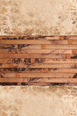 Weathered old papers on a wooden background — Stock Photo