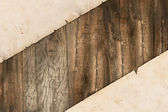 木製の背景に色あせた古いペーパー — ストック写真