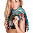 Hot and sexy brunette with a colorful scarf - Stock Photo