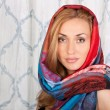 Gorgeous young lady with colorful scarf — Stock Photo #10669750