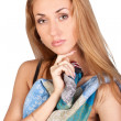 Sweet brunette with a colorful scarf - Foto Stock
