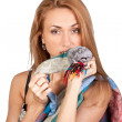 Lovely young woman with a colorful scarf - Foto Stock