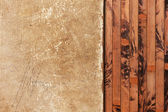 Weathered paper sheet on a wooden background — Stock Photo