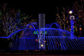 Night park, decorated by varicoloured illumination — Stock Photo
