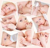 Collage of photos of babies — Stock Photo