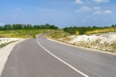 Typical steppe road in Ukraine — Stock Photo
