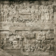 Detail of carved relief at Borobudur on Java, Indonesia. — Stock Photo