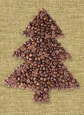 Christmas Tree from coffee beans. — Stock Photo