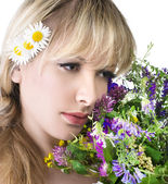 Beautiful girl with flowers — Foto Stock
