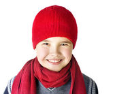Boy is in a red cap — Stok fotoğraf